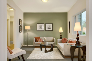 modern small living room ideas with sage green and white painting
