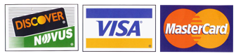 We Accept Discover, Visa and Mastercard