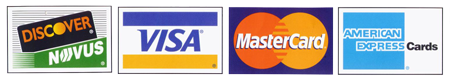 We Accept Discover, Visa, Mastercard and American Express