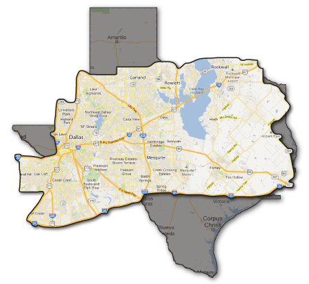 Southern Painting - Greater Dallas Service Area Map