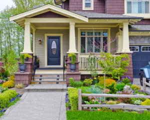 Bungalow style home with multiple exterior paint colors