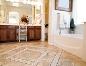 Modern luxury bathroom with vanity and standalone bathtub